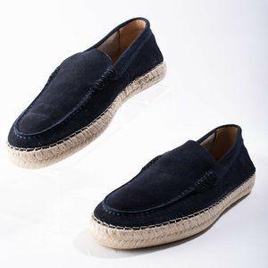 Massimo Dutti Blue Split Suede Leather Espadrilles